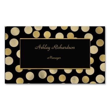 Classy Gold & Black Polka Dot Stylish Double-Sided Standard Business Cards (Pack Of 100)