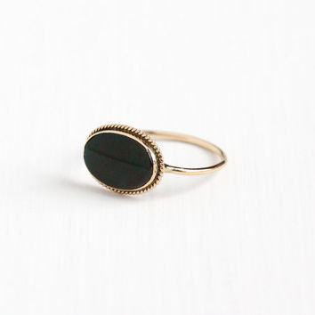 Antique Edwardian 14k Rosy Yellow Gold Bloodstone Stick Pin Conversion Ring - Early 1900s Size 10 1/2 Red & Green Gemstone Fine Jewelry