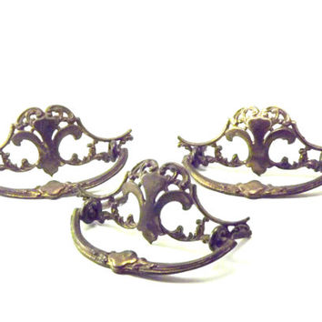 3 Victorian 1900s Metal Drawer Pulls, Ornate Cast Brass Rococo Hardware, Antique Dresser Handles