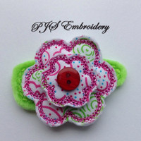 Felt and Fabric Flower In Pink White Blue and Green Snap Clip Barrette