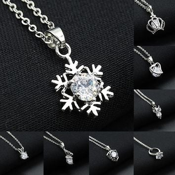 Crystal Necklaces Hollow Snowflake Heart Crown Butterfly Owl Pendants Silver Rhinestone Charm Choker Chain Women Jewelry