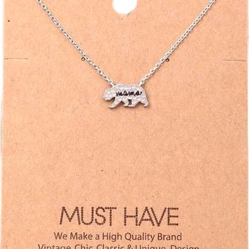 Must Have-Bear Mama  Necklace, Silver