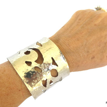 Silver lace wrist cuff, artisan crafted hammered metal arm band