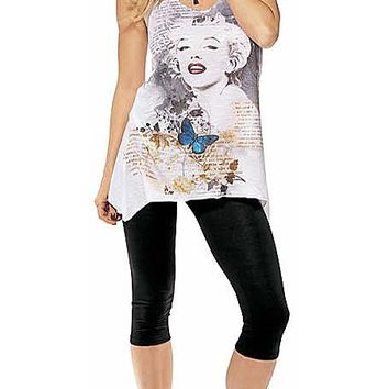 Marilyn Monroe Printed Cotton Tank Top w/Cutout Back (Small-Medium)