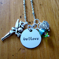 "Disney's ""Peter Pan"" Inspired Tinkerbell Necklace. Pixie Fairy ""believe"". Hand Stamped Charm Pendant, Swarovski crystal, for women or girls."