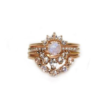 Rose Gold Rainbow Moonstone & Diamond Miss Universe Stack