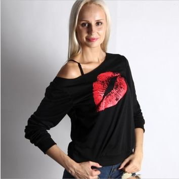 Sexy lips print long-sleeved shoulder sweater