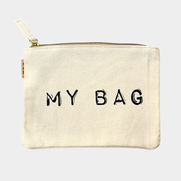 """My Bag"" Cotton Canvas Eco Pouch Makeup Bag"
