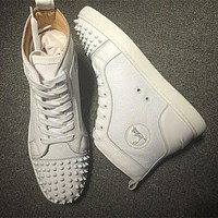 Cl Christian Louboutin Lou Spikes Style #2188 Sneakers Fashion Shoes
