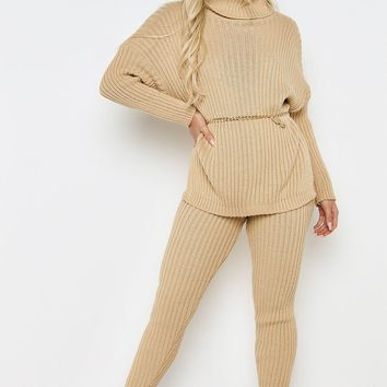 CAMEL KNITTED RIB LONG SLEEVE CO-ORD SET