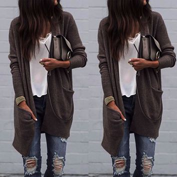 Plain Color Long Cardigans with Big Pockets