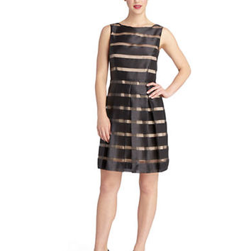 Tahari Arthur S. Levine Abbie Illusion Stripe Pleated A Line Dress