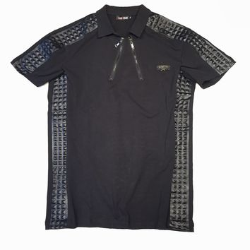 Caviar Dreams Black Quilted Ribbed Polo Shirt