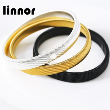 Linnor 2017 New Product Spring Metal Bangles Bracelets for Women Male Arm Ring Sleeves Braclet Cuff Wristband Cordao Braslet