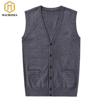 MACROSEA Autumn Retro Style Men's Knitting Wool Vest Cardigan Male Retro Design Sleeveless Cardigan Soft Comfortable Over Coat