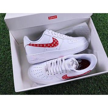 Supreme x LV x NIKE Air Force Women Men Running Sport Casual Shoes Sneakers