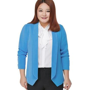 DCCKFV3 100 kg can Wear Woman Spring Autumn Loose Blazer Jacket Candy Color Plus Size Chiffon Cardigan Coat Long Sleeve OL Work Suits