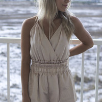 New Romantics Champagne Cross Back Romper