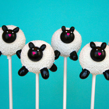 12 White Lamb Cake Pops for baby shower, baptism, communion, counting sheep theme, farm party favor, religious, Christian gift