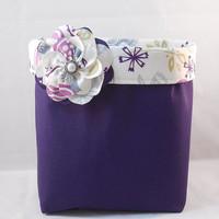Pretty Purple And Cream Fabric Basket With Detachable Fabric Flower Pin For Storage Or Gift Giving