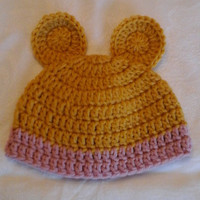 Vintage Teddy Bear Inspired Hat, Newborn Photo Prop, Baby Gift, Beanie for Infant, Baby Girl, Pink, Rose Quartz