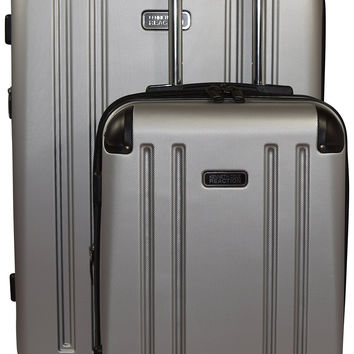 Kenneth Cole Reaction 8 Wheelin Expandable Luggage Spinner Wheeled Suitcase 2 Pc Set  29 & 20-inch Light Silver '