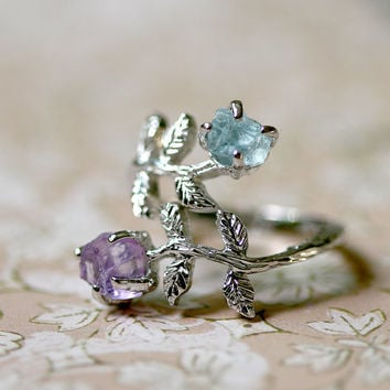 Free Shipping,Pink Amethyst,Aquamarine,Stone ring,Ring,Adjustable Ring,Rough Stone Ring,Raw Stone Ring,Raw Crystal Ring,Olive Ring,Leaf ring