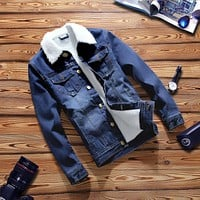 Casual Thick Warm Jeans Jacket Men Slim Turn Down Collar Jeans
