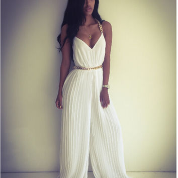 White V-Neck Chain Strap Pleated Flared Leg Chiffon Jumpsuit