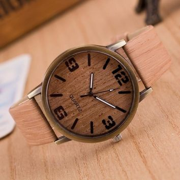 Vintage Simple Gift Unisex Wood Grain Waterproof Round Wooden Watch Quartz Watches Wristwatch