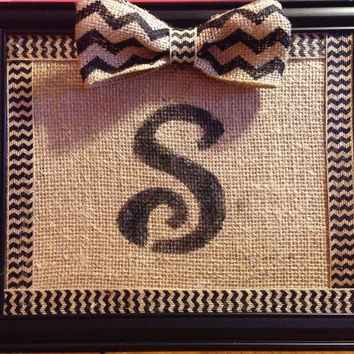 Initial wall hanging with burlap