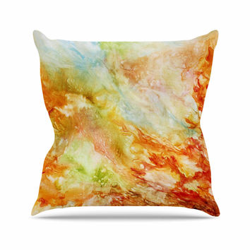 "Rosie Brown ""Autumn Breeze"" Orange Red Outdoor Throw Pillow"