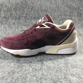 DCCKIJ2 Puma R698 AIIover Suede Running Sport Casual Shoes Sneaker Wine Red