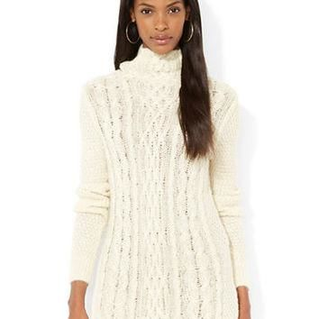 Lauren Ralph Lauren Funnelneck Cable Knit Sweater