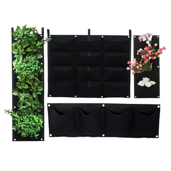 Wall Hanging Felt Cloth Grow Bag Black Vertical Garden Planter Flower Pot Bag Vegetable Planting Bag Garden Supplies 4 Styles