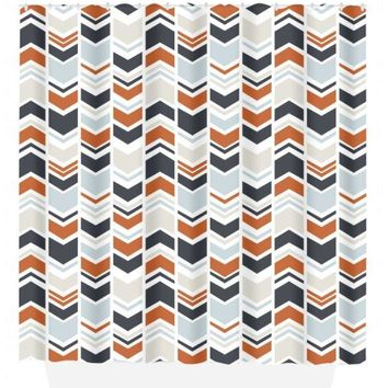 Arrow SHOWER CURTAIN, Tribal Aztec, Navy Orange Beige, Custom MONOGRAM Personalized, Shared Bathroom Decor, Towel, Plush Bath Mat
