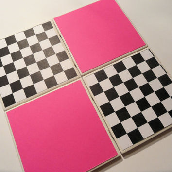 Hot Pink and Checkerboard Ceramic Coasters set of by myevilfriend
