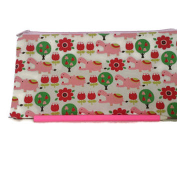 Hippo pencil case, cosmetic case, small pouch, hippo pouch, teacher gift, Stationary, animal print, pencil pouch, cosmetic case, girls gift