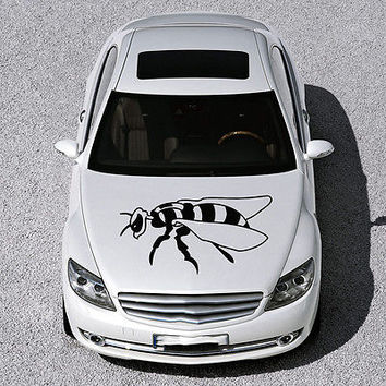 CUTE EVIL BEE INSECT WINGS DESIGN HOOD CAR VINYL STICKER DECALS ART SV1169