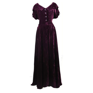 Plum silk velvet 1940s floor length evening dress with bow buttons