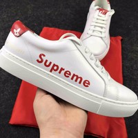 Best Online Sale Hot Supreme x Louis Vuitton Fashion Plate Shoes White Red With Letter Casual Shoes