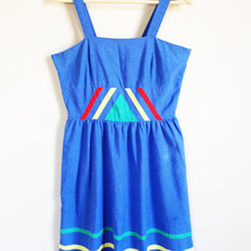 Vintage Geometric Sundress -- 60s /70s Abstract Cotton Dress -- Primary Colors -- Triangle & Stripes -- Pleated High Waist -- Sm / Med