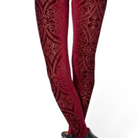 Red Revenge of the Burned Velvet Leggings Design 434