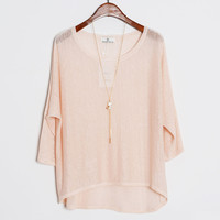 Blush Long Sleeve Knitted Blouse