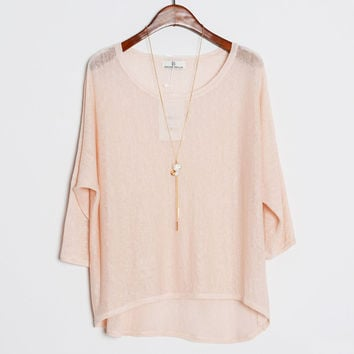 Round Neck High-Low Knitted Blouse