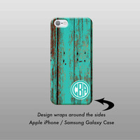 iPhone 7 Case, iPhone 6 Case, Teal Wood iPhone 6S Plus Case,iPhone 7 Plus Case,Monogram Case, Galaxy S6 Case,Monogram Gift, Galaxy S7 Case