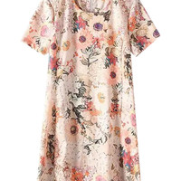 Floral Short Sleeve Zip-up Shift Mini Dress