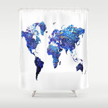 World Map blue purple Shower Curtain by Haroulita