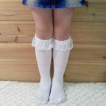 3-8Y Comfy White Lace Baby Girl Stocking Kids Leg Warmer Child Knee Length Socks