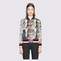 """""""Gucci"""" Women Fashion Casual Sequin Letter Tiger Head Floral Geometric Print Long Sleeve Zip Cardigan Jacket Coat"""
